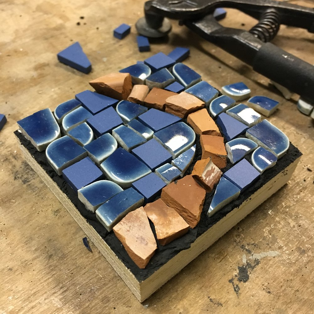 Blue ceramic with terracotta mosaic PH2016