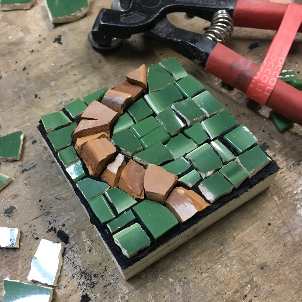 Green ceramic with terracotta mini mosaic PH2016