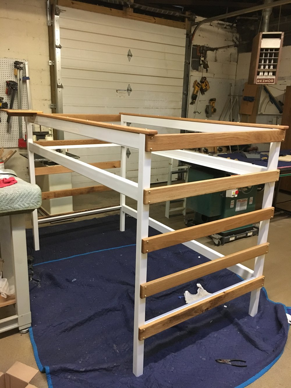 Tube steel and oak bed