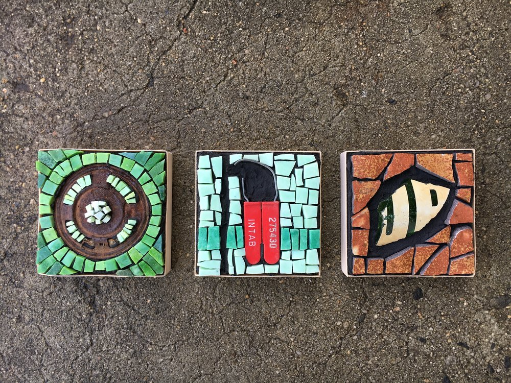 Found object eco mosaic series