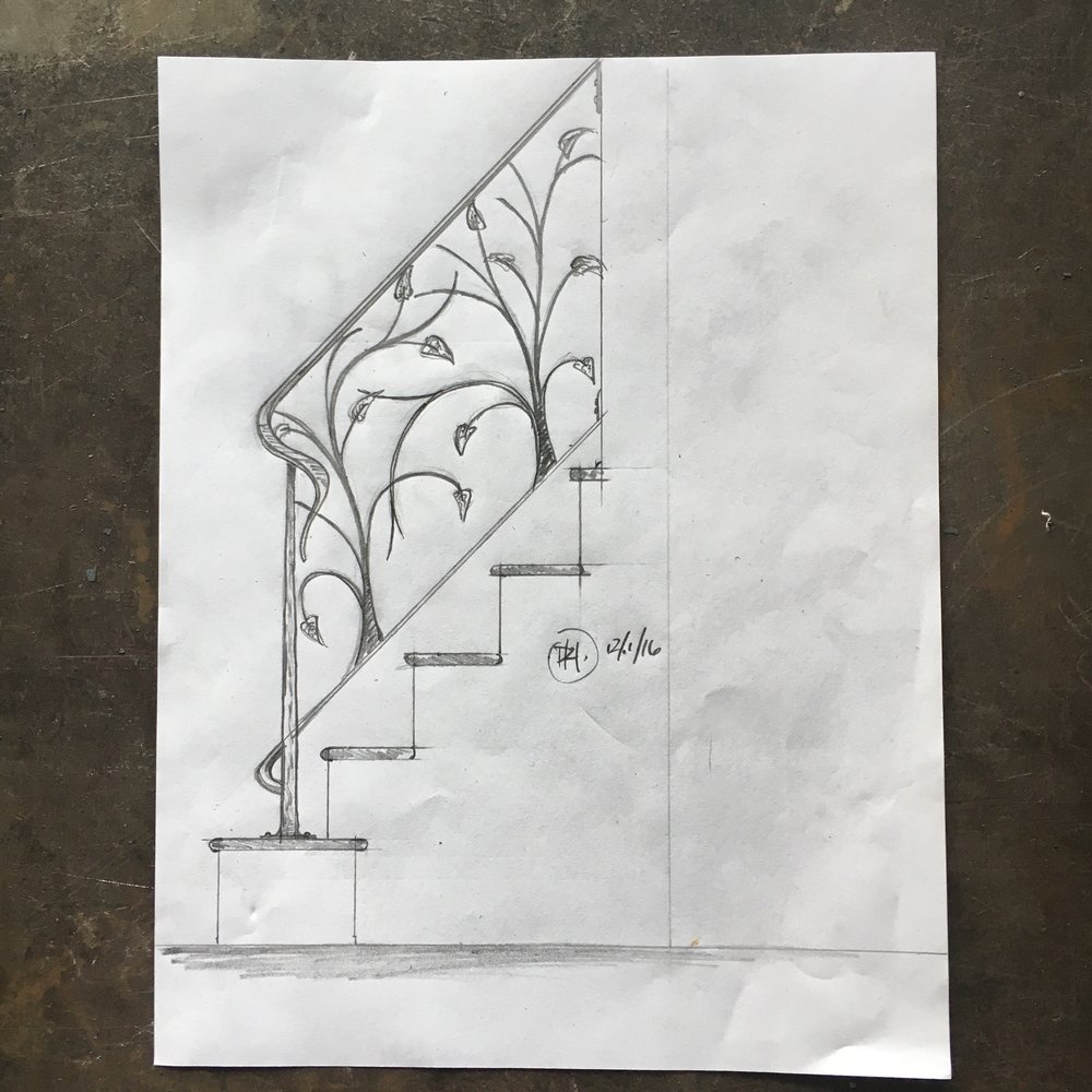 Leaf railing sketch PH2017