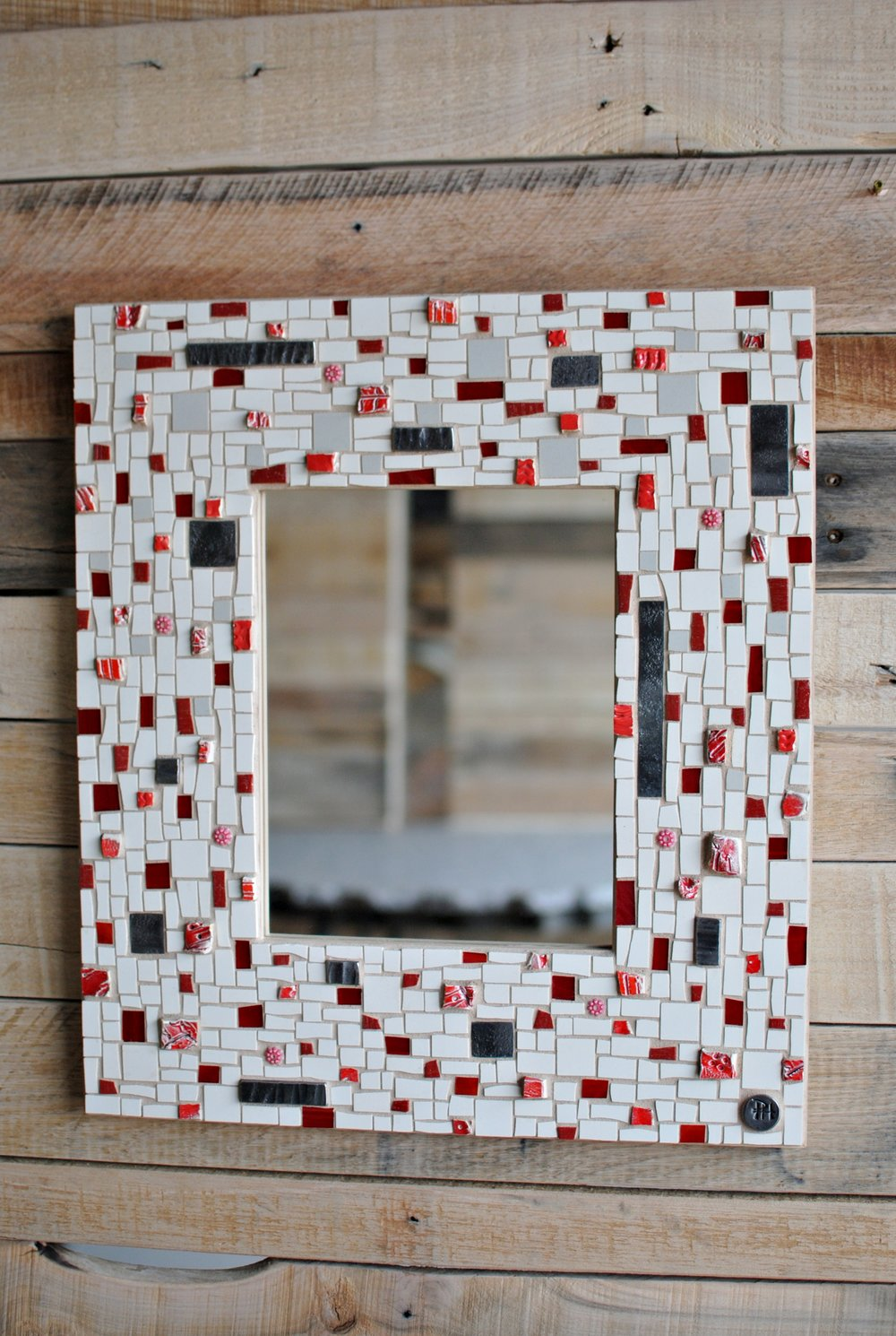 Red & white mosaic mirror
