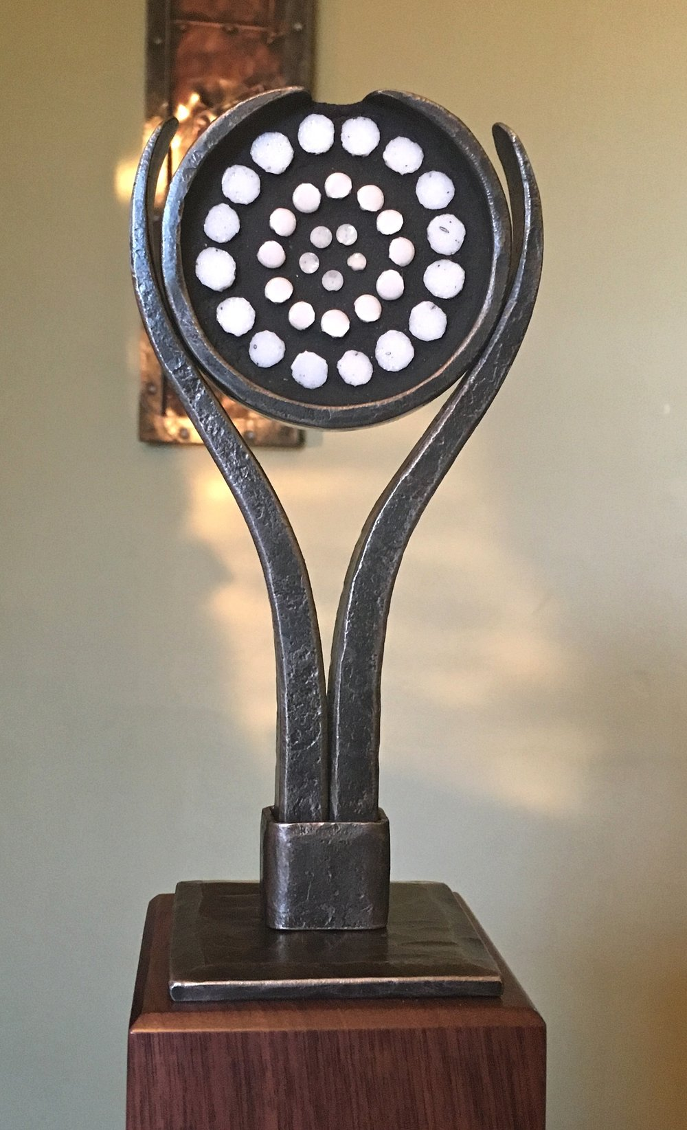 Forged steel and mosaic trophy