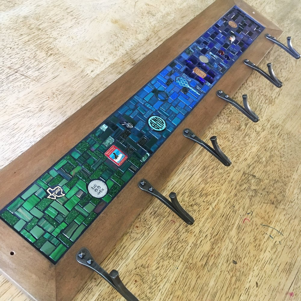 Green and blue mosaic coat rack