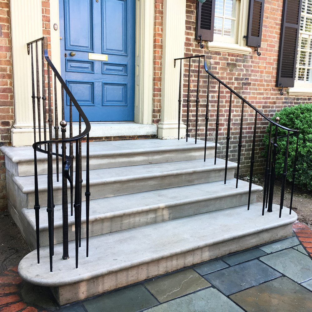 Exterior front stair rail