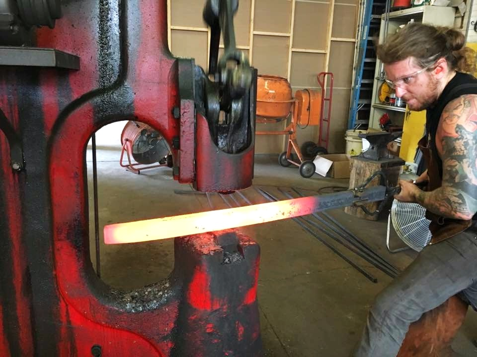 Forging dining table legs on the power hammer