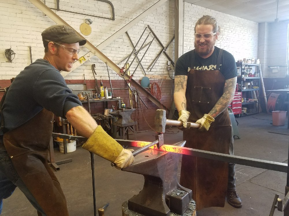 Forging a table leg