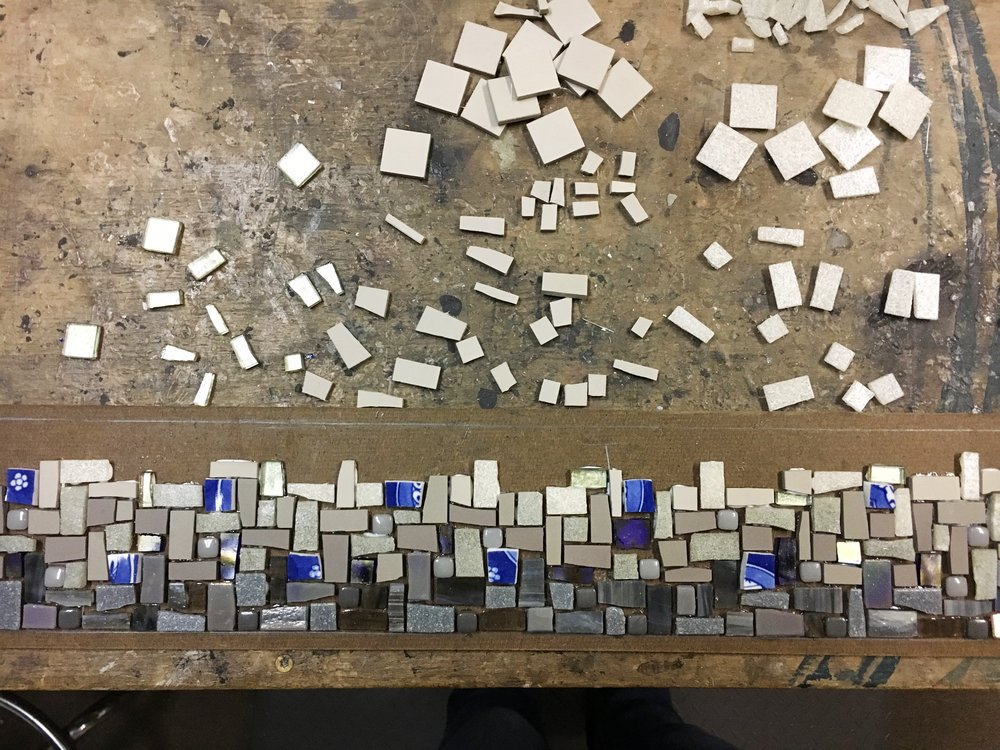 Grey blue mosaic in process