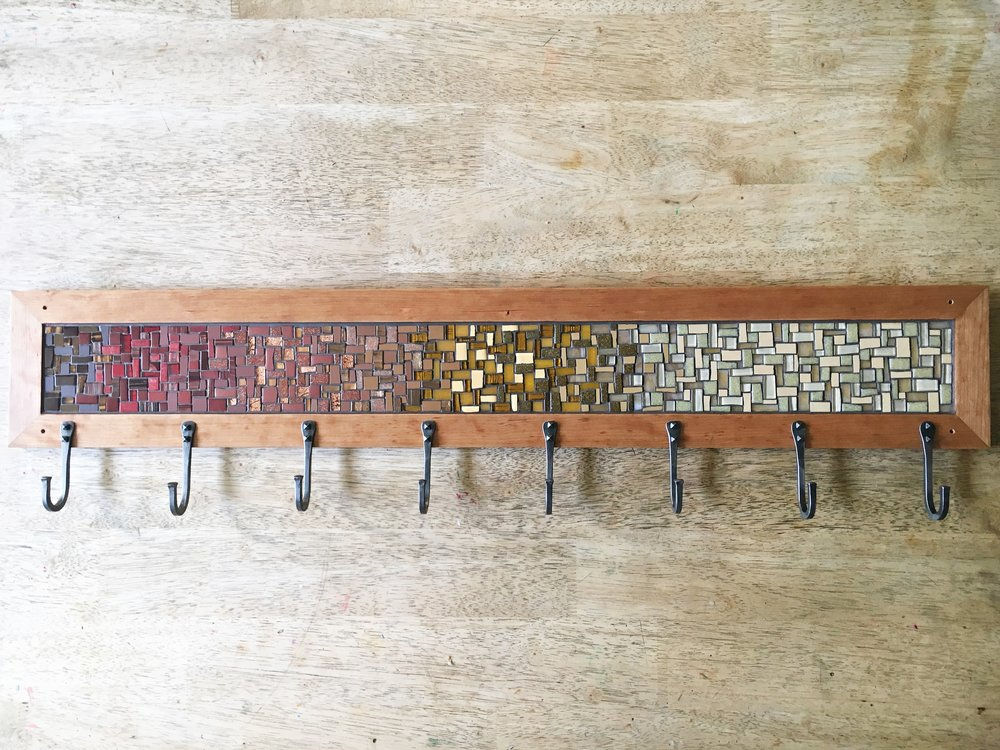 Sunflower mosaic coat rack
