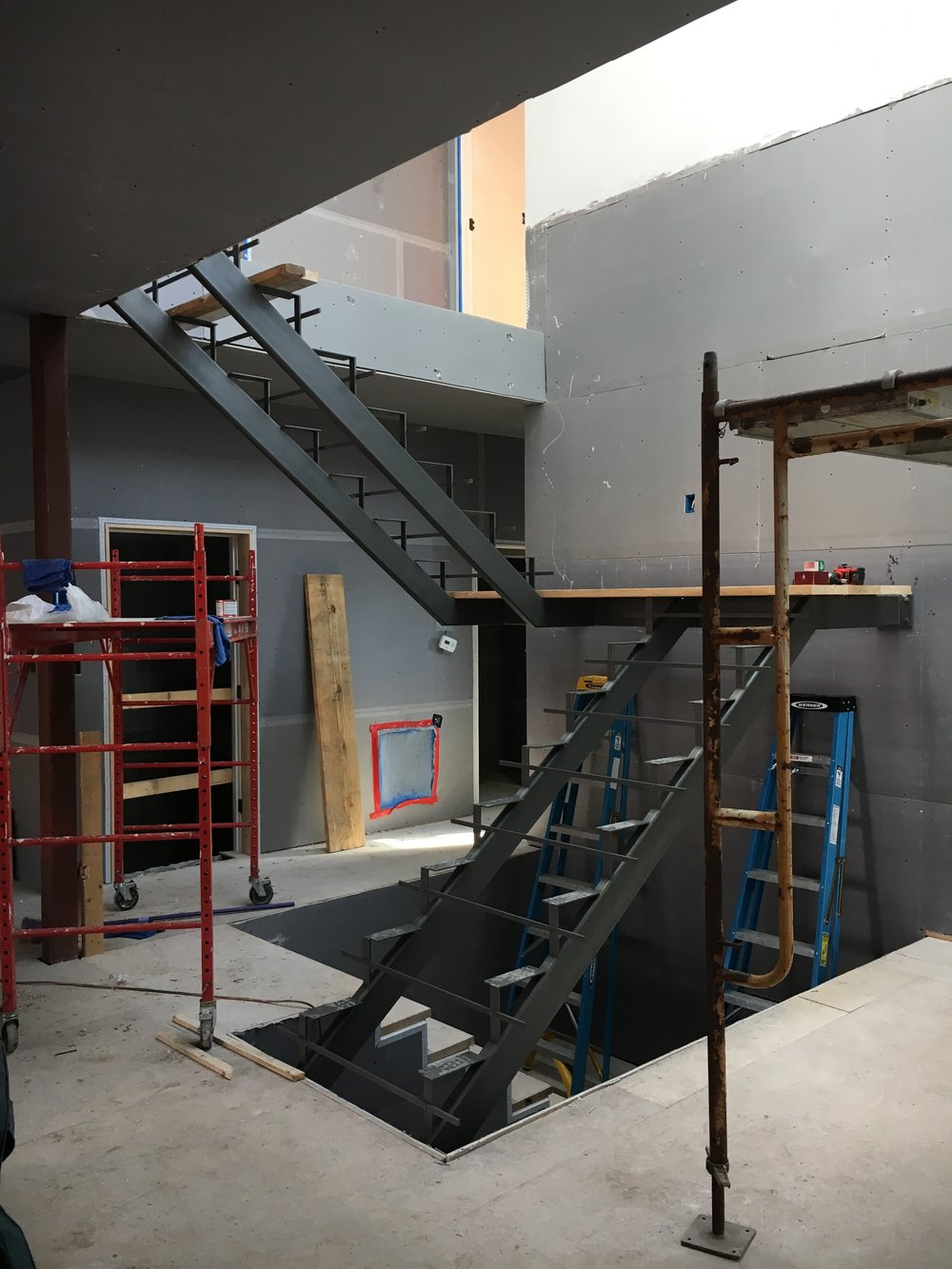 Stair stringers installed