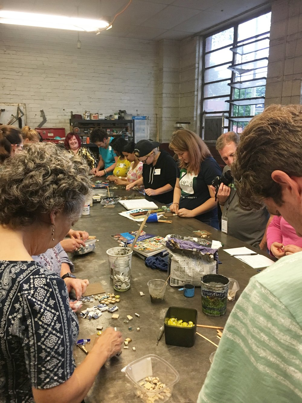 Mosaic workshop participants hard at work