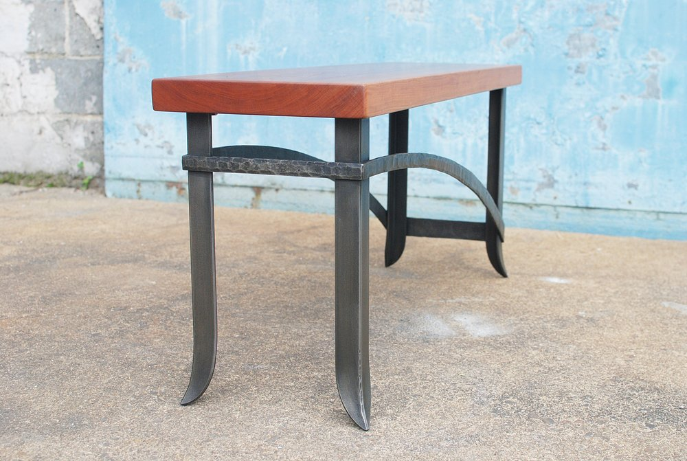 Forged bench with cherry top