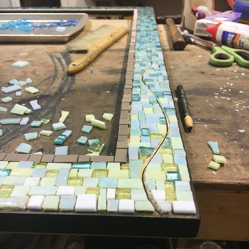Large mosaic mirror frame in progress