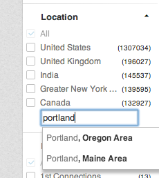 """Select geographic location or write it in under """"Location."""""""