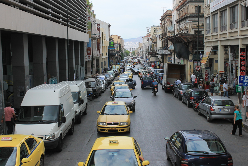 view from the bus, the busy streets of athens