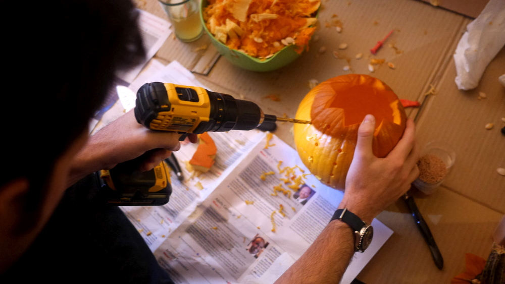 Peter & Allie used a drill to make a disco ball pumpkin (!)