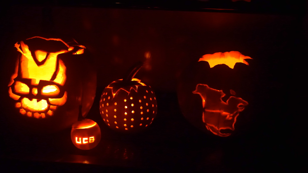 Nate's Frank the bunny, Oscar's UCB pumpkin, Allie & Peter's Disco Ball, and Zack & Caroline's North America