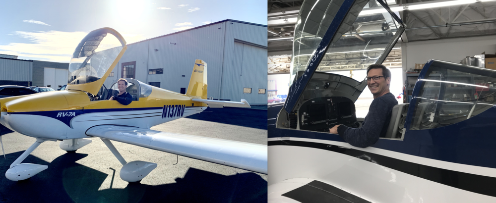 Comparison between the RV-7 (left) and RV-14 (right) while sitting. Clearly the RV-14 is bigger with more head and shoulder room than the RV-7.