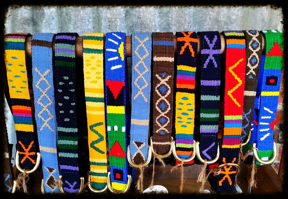 "Beautiful hand woven dog collars.  Brass hardware, durable, washable.  Finest quality for your best friend and a unique look that stands apart from the rest!  Available in X-small to Large  (6"" to 30""). When you shop with us we donate 10% back to the shelter, rescue or animal foundation you choose!"