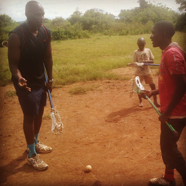 @ugandalax captain Patrick Orianna is in the village helping oversee the development of the new sports complex & is also training the Hopeful School PE teacher & running youth clinics. Thanks Pato!