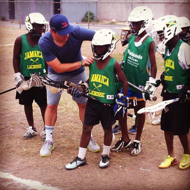 @paulcarcaterra coaching kids up today at @jamaicalacrosse youth academy. #JamaicaLax #RiseUp #WayUp