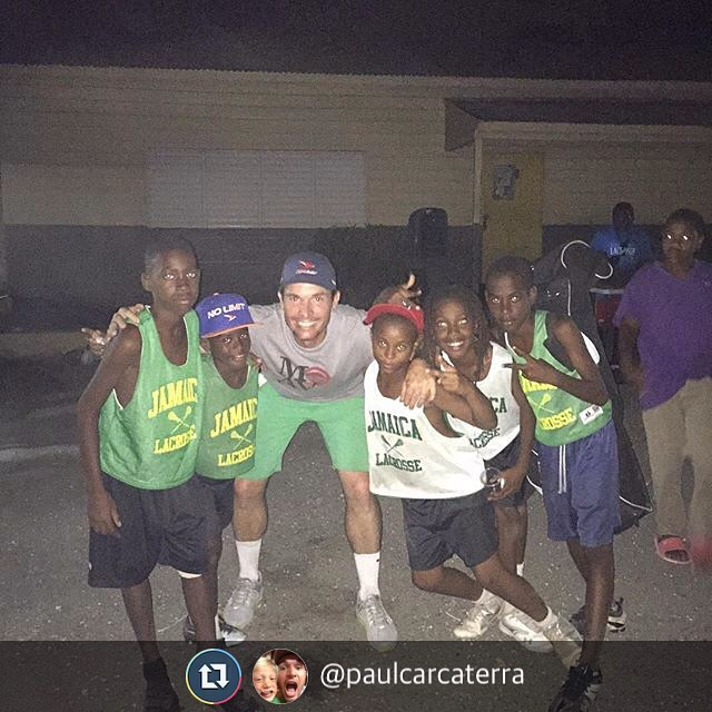Repost @paulcarcaterra giving the kids some love on game night @jamaicalacrosse
