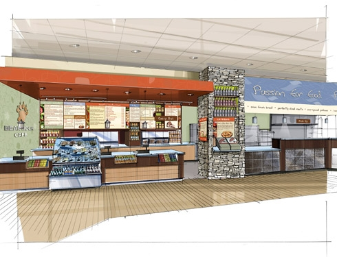 Rendering of checkout with wall treatments and signage