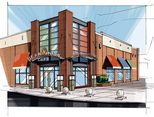 Rendering of building exterior with window graphic treatments and signage