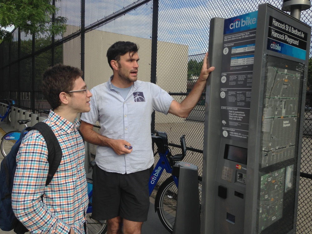 Transportation Alternatives representative educates on using CitiBike