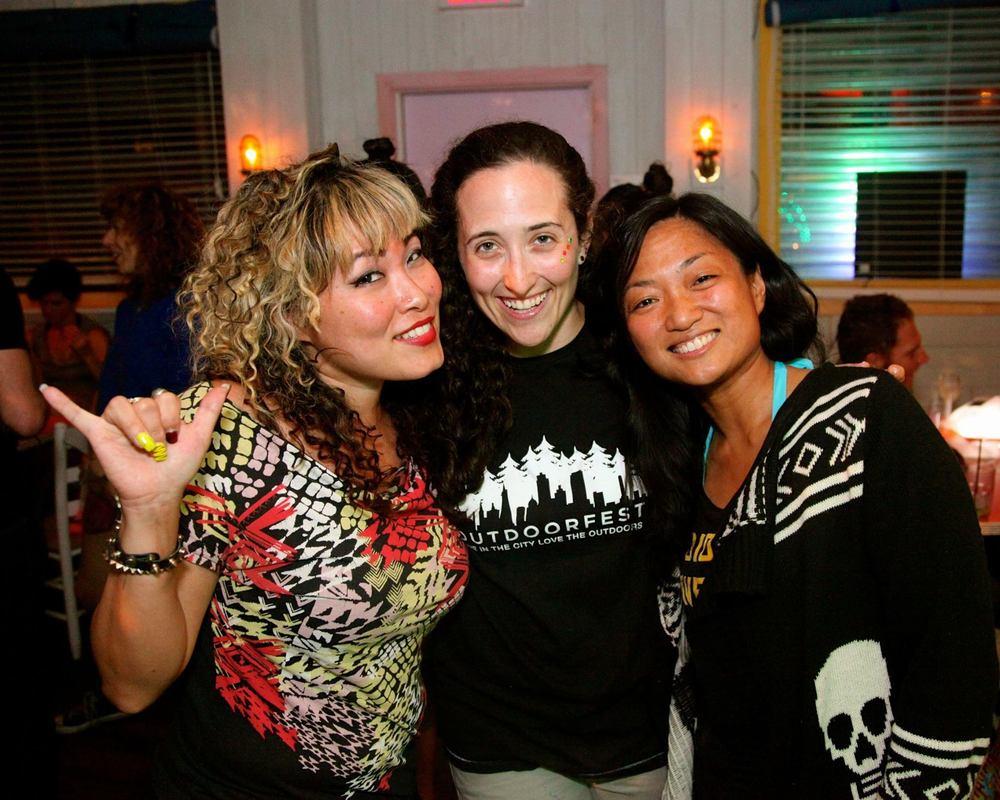 Organizational team: Cindy (DJ), Sarah (OutdoorFest), Ruth (NY Surf Chicas)
