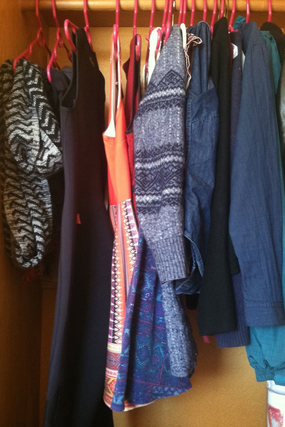 My well equipped NYC closet - wetsuit on the left, dresses on the right