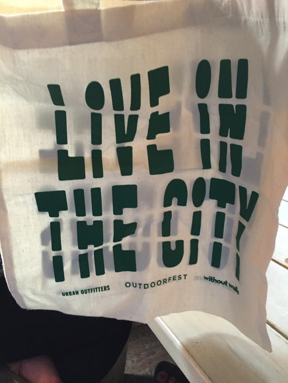 Co-branded tote bags with Urban Outfitters for beach day in Rockaway