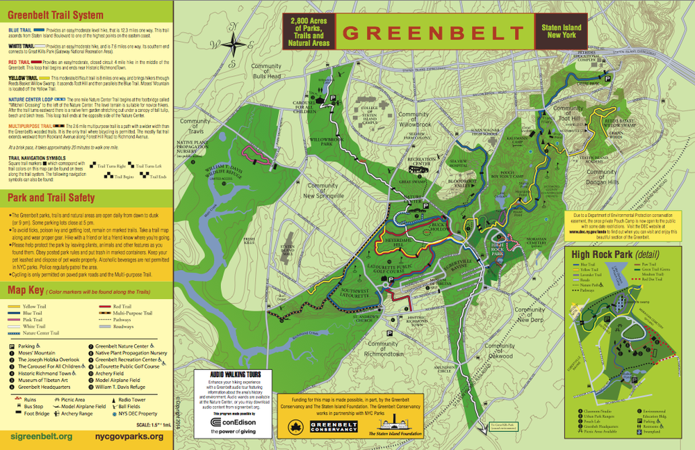 The Greenbelt map can be downloaded here or you can pick up a copy at the Greenbelt Nature Center