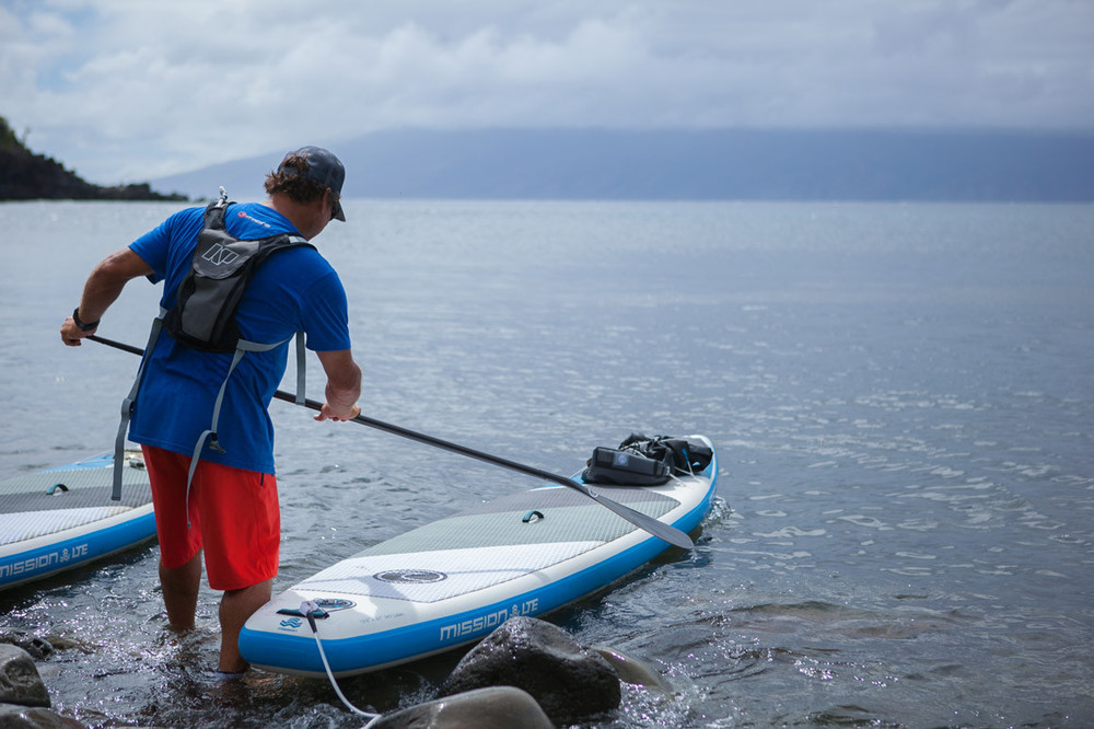 Inflatable Standup Paddleboard, fits into a backpack