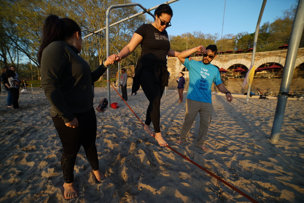 "Everyone can learn to slackline. We'll be there every ""step"" of the way."