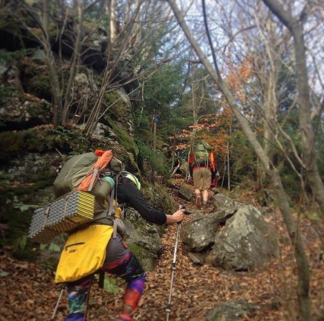 Karen and Jake conquering the Escarpment Trail on a guided backpacking trip with Catskill Mountain WIld.
