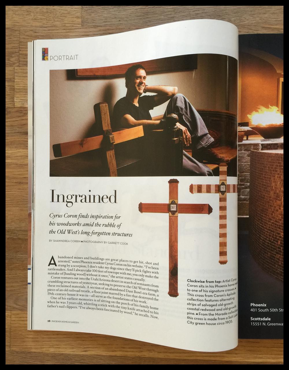 phoenix home and garden magazine featured artist, december 2013