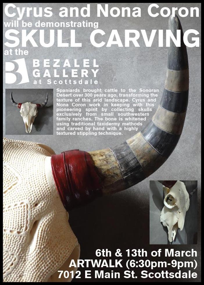 bezalel art gallery, scottsdale art walk skull carving demo, march 2014