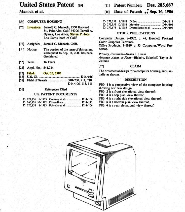 Patent for Macintosh Computer Housing showing Twiggy floppy disk drive with Jobs, Manock and Oyama on the document.