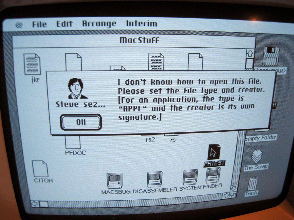 Steve sez... A pre-release Mac System Software dialog box.