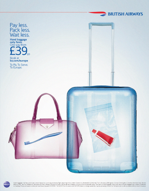 British Airways Europe. Hand Baggage only fares