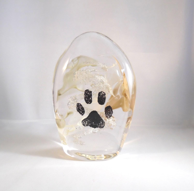Ashes To Art Paw Print Stone  Fireweed Glass Studio