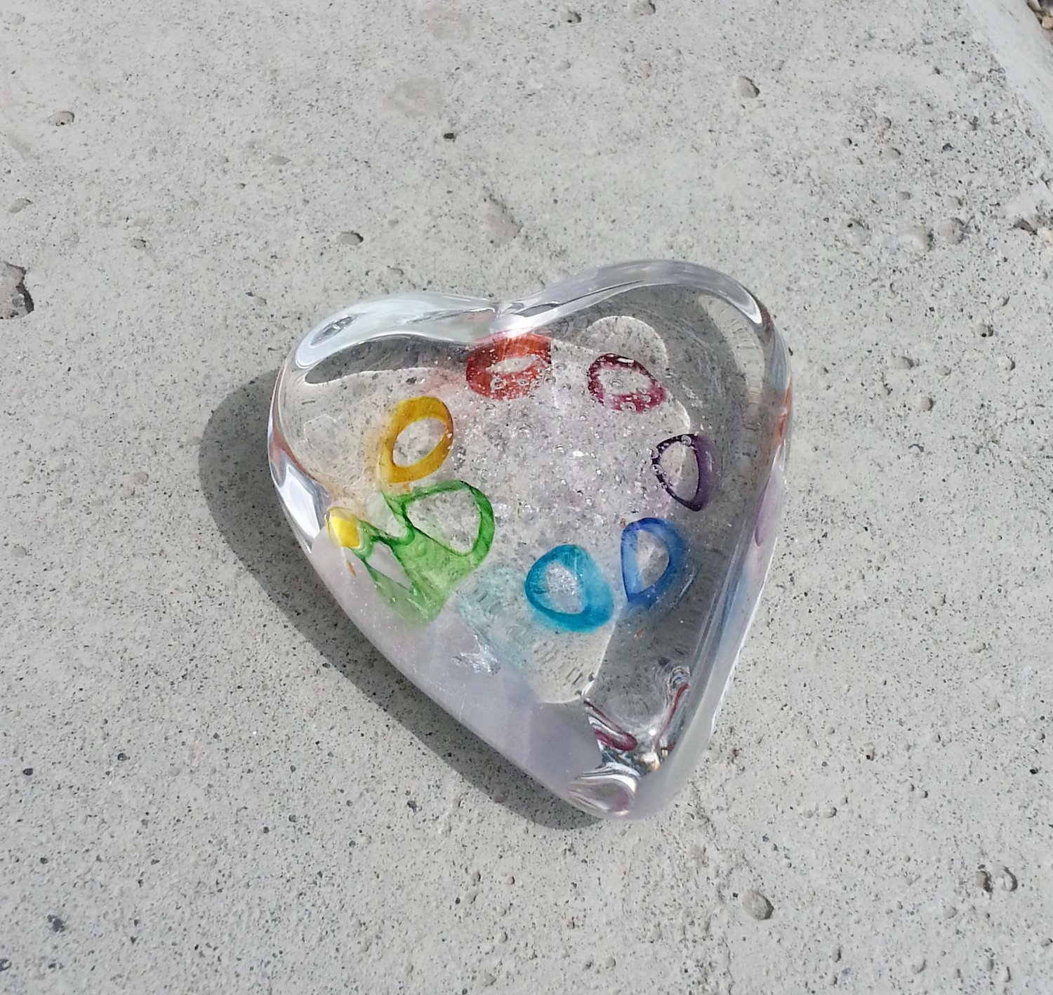 Ashes To Art Rainbow Cane Heart by Barbara Rumberger  Fireweed Glass Studio
