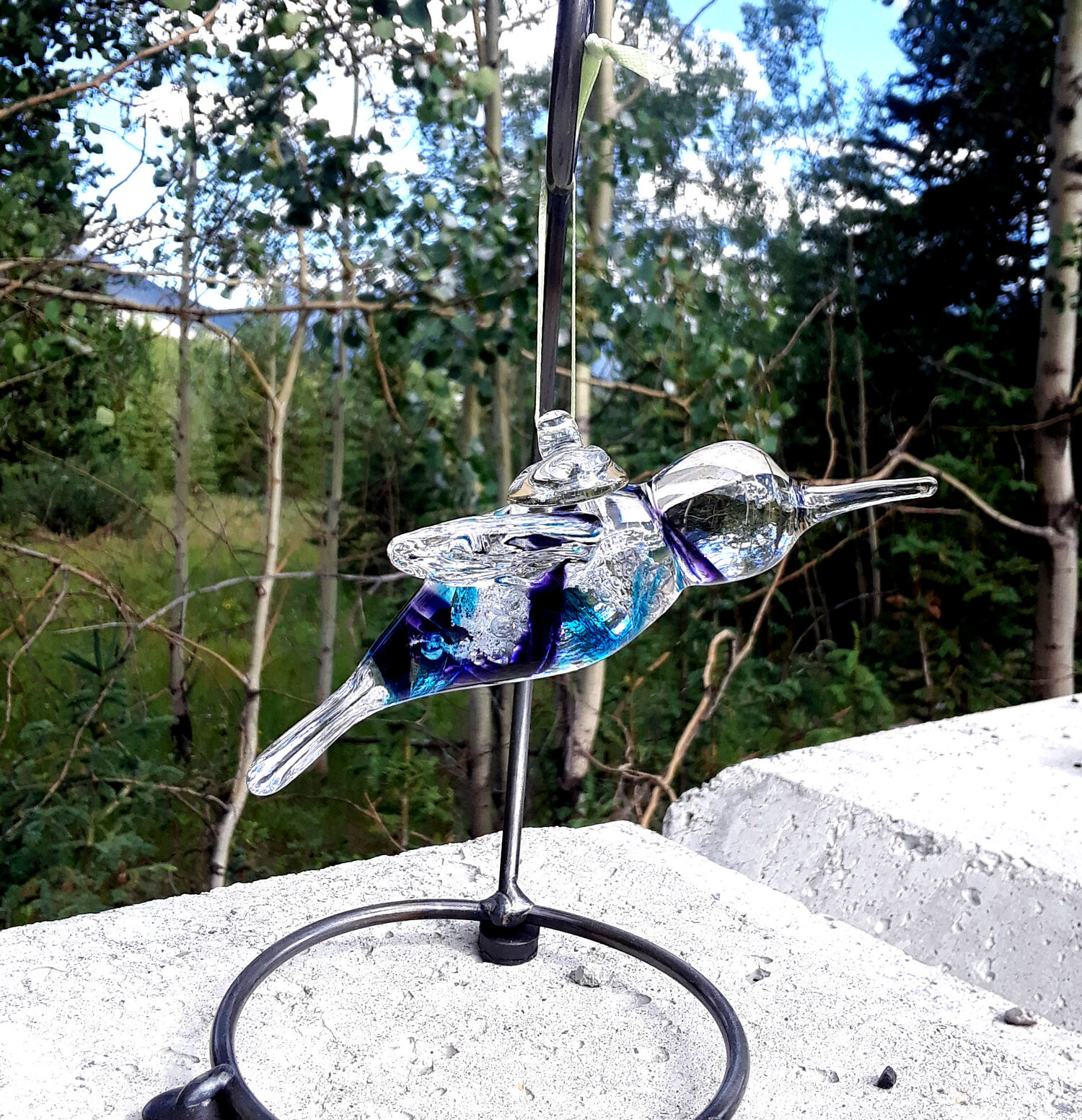 Ashes To Art Hanging Hummingbird by Nicole Tremblay  Fireweed Glass Studio