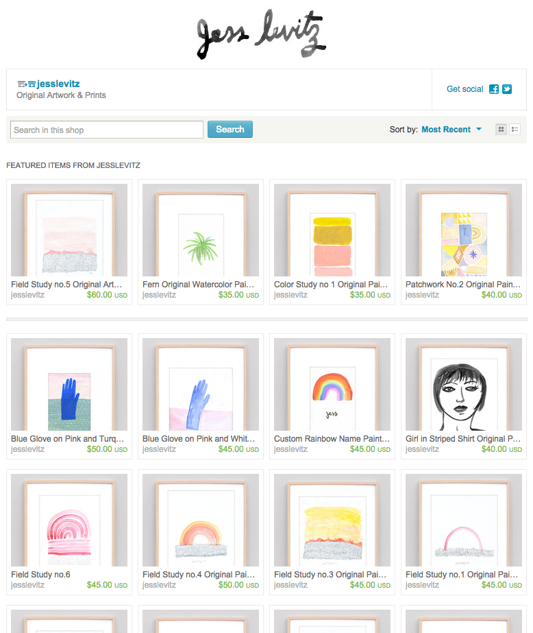 jess levitz etsy art shop