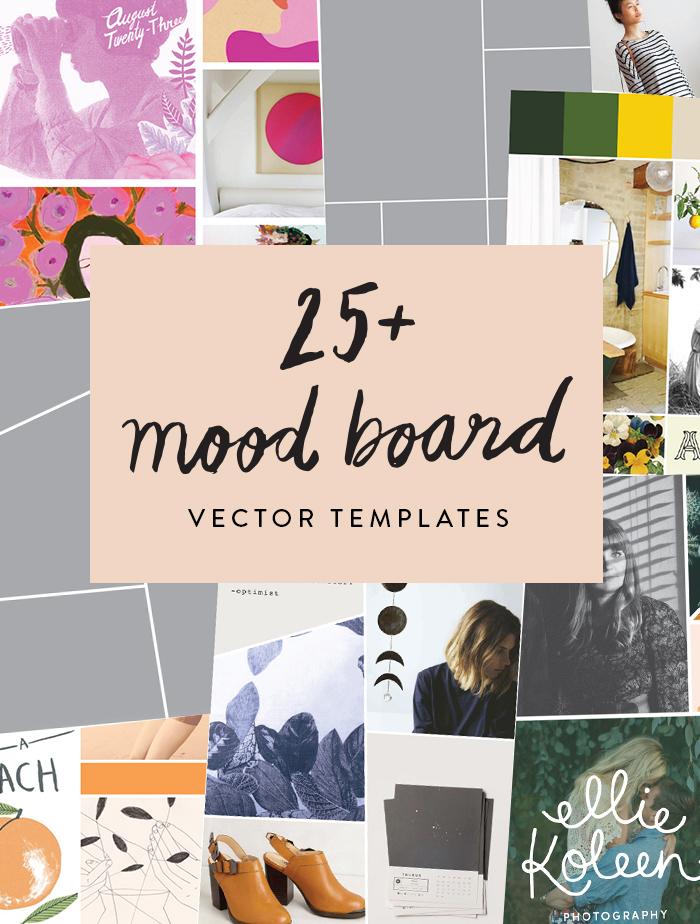 25 mood board vector templates june letters studio. Black Bedroom Furniture Sets. Home Design Ideas