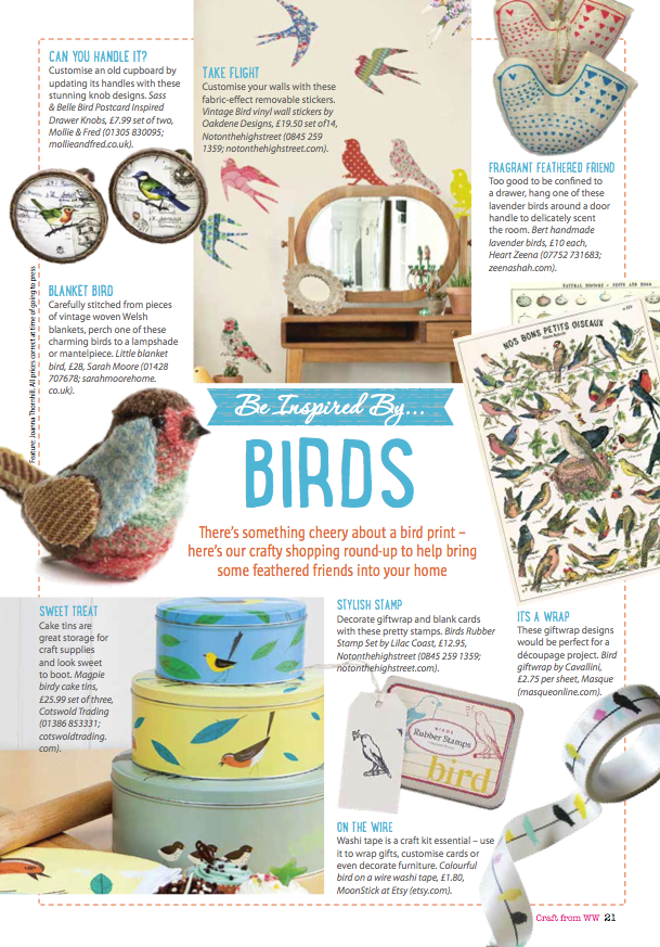 -Be Inspired By... Birds by Joanna Thornhill for Craft from Woman's Weekly, May 2014