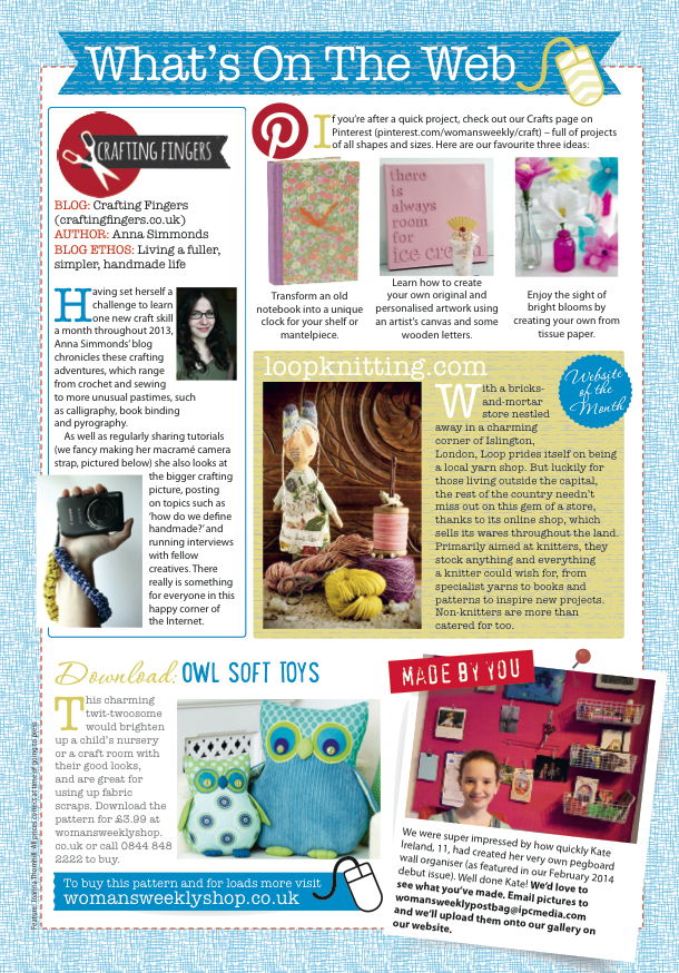 What's on the Web by Joanna Thornhill for Craft from Woman's Weekly, May 2014