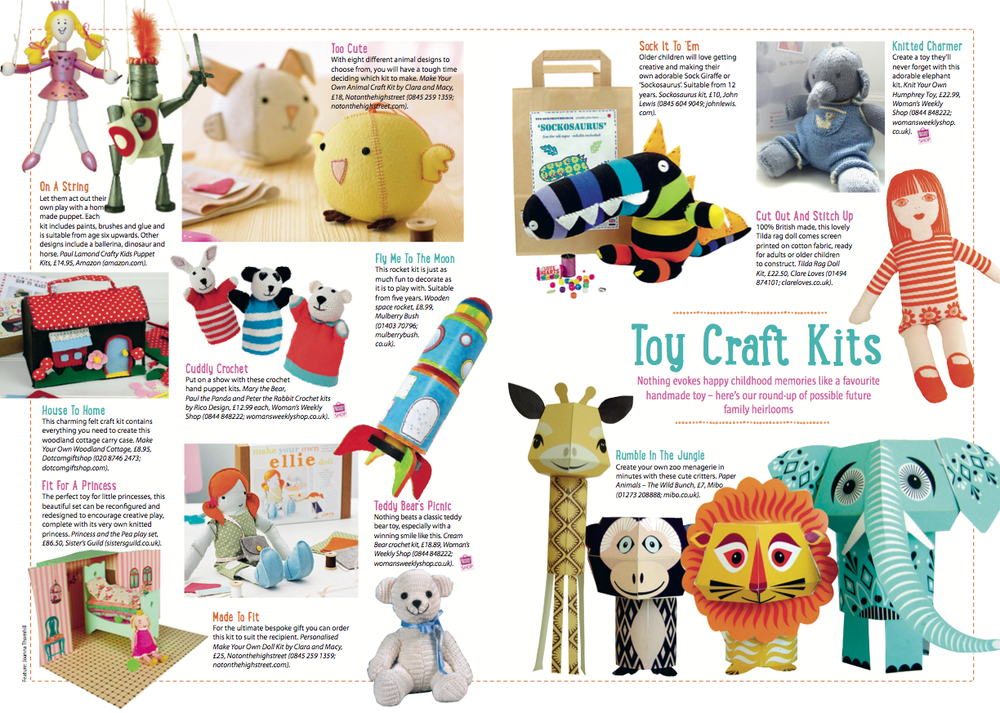 Toy Craft Kits by Joanna Thornhill for Craft from Woman's Weekly, May 2014
