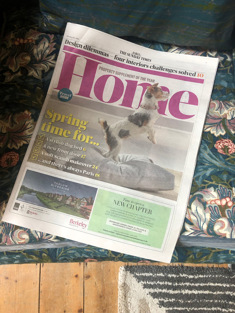Sunday Times Home featuring My Bedroom Is an Office by Joanna Thornhill 24th Feb 2019 - front cover